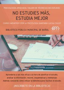 Taller de Técnicas de Estudio @ Biblioteca Púbica Municipal de Buñol. Sala Raga.